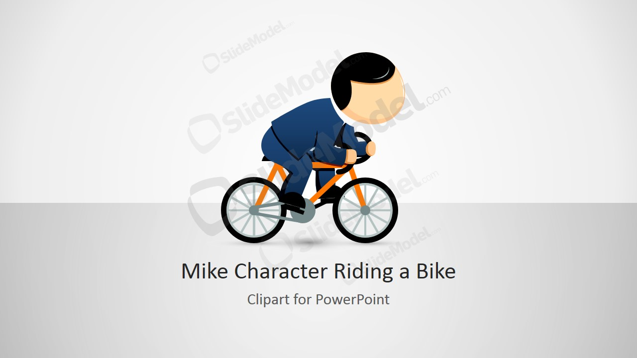 Mike Male Cartoon Character Riding a Bike - SlideModel