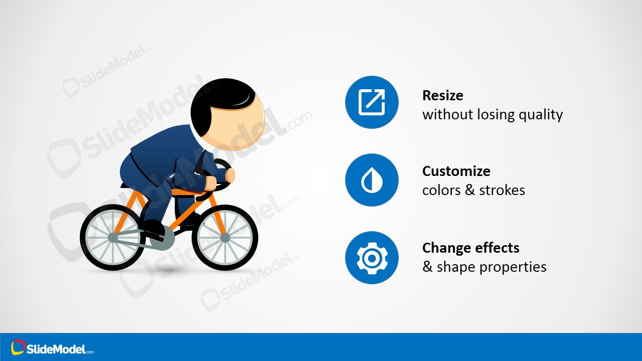 Clipart Running a Bike for PowerPoint