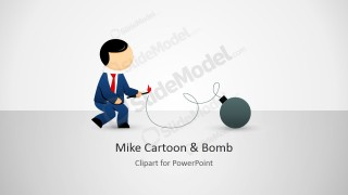 Male Cartoon Igniting a Bomb Illustration for PowerPoint