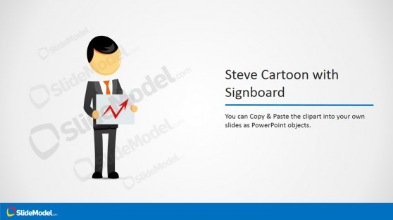 Cartoon Character Clipart with Signboard in Hands