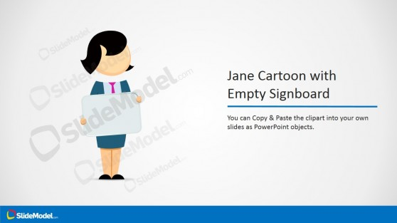 Jane Cartoon with Signboard for PowerPoint