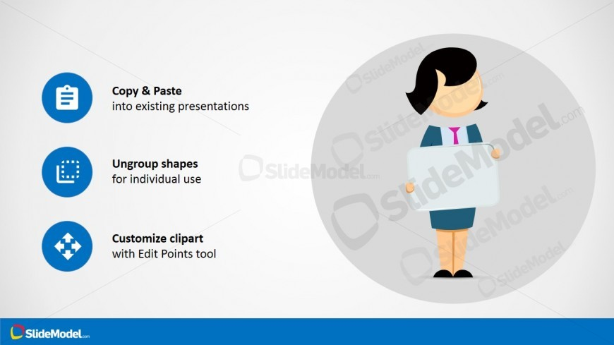 Jane Cartoon Usage Secearnios with PowerPoint Icons