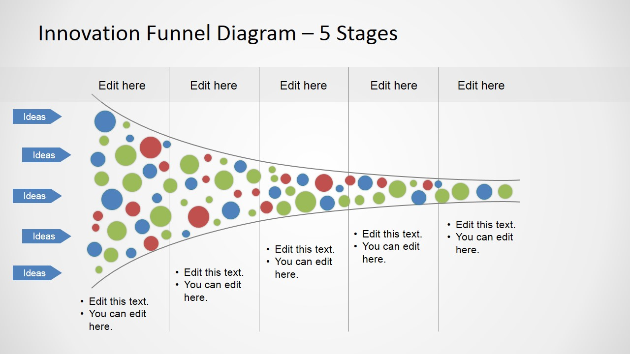 5 Stages Funnel Analysis Horizontal Slide
