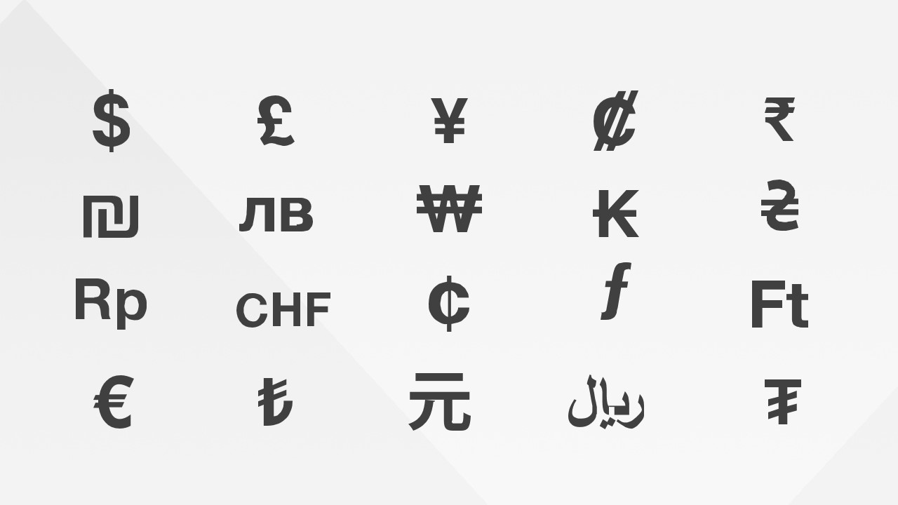 currency symbols powerpoint icons