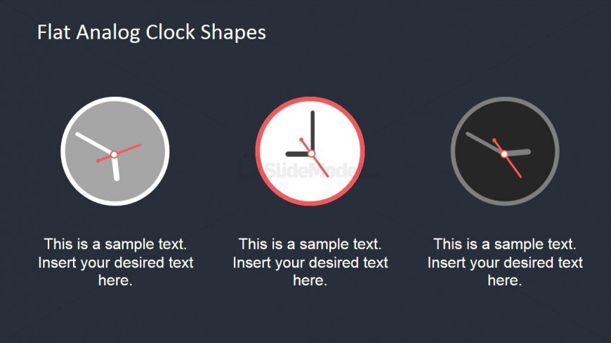 Flat Analog Clock Shapes for PowerPoint