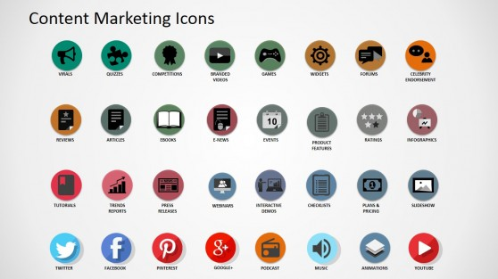 Professional Digital Content Asset Icons for PowerPoint