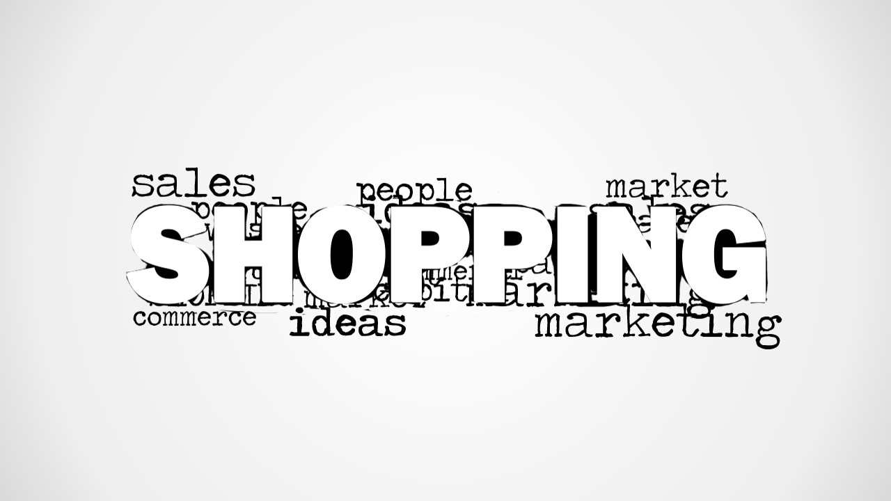 Modern Word Cloud Featuring Shopping Keyword