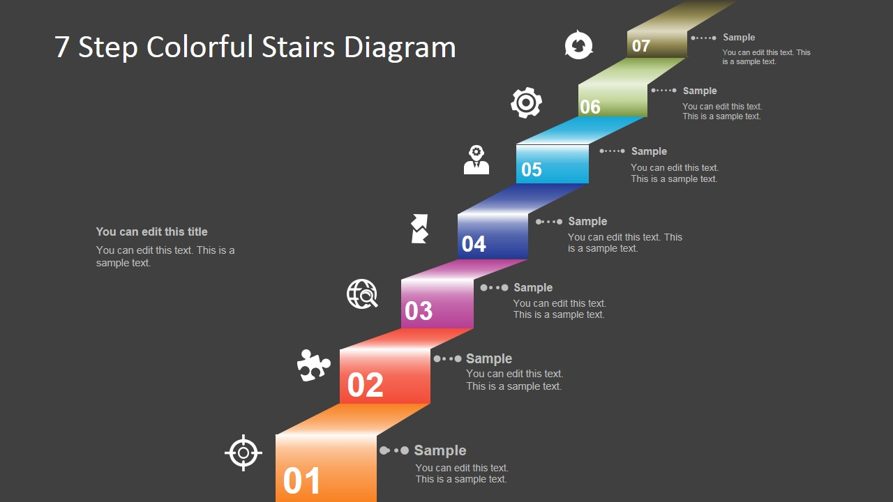 Steps Colorful Stairs Diagram Powerpoint X