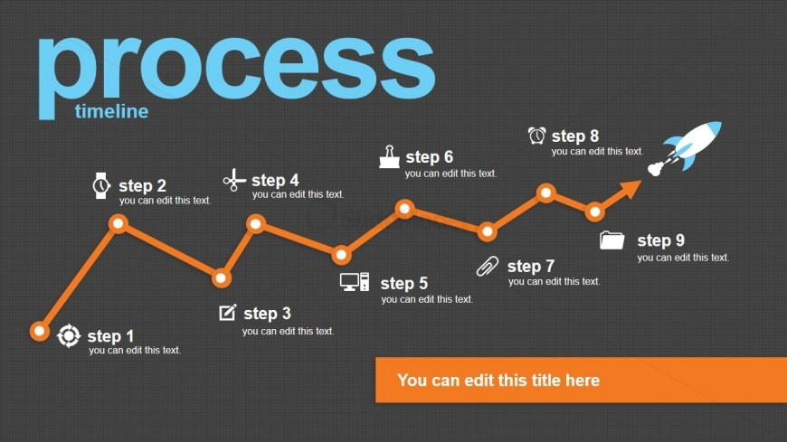 Process Timeline Design with Space Ship Vector