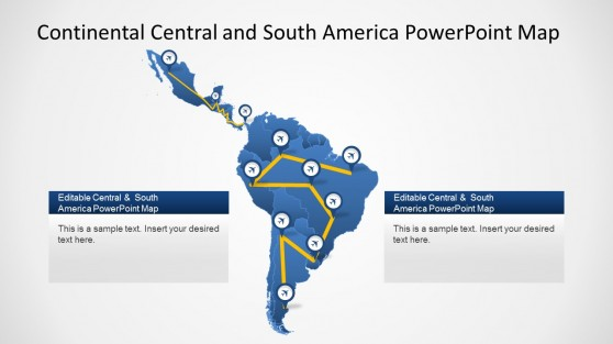 Latin powerpoint templates latin america powerpoint map with plane routes toneelgroepblik Images