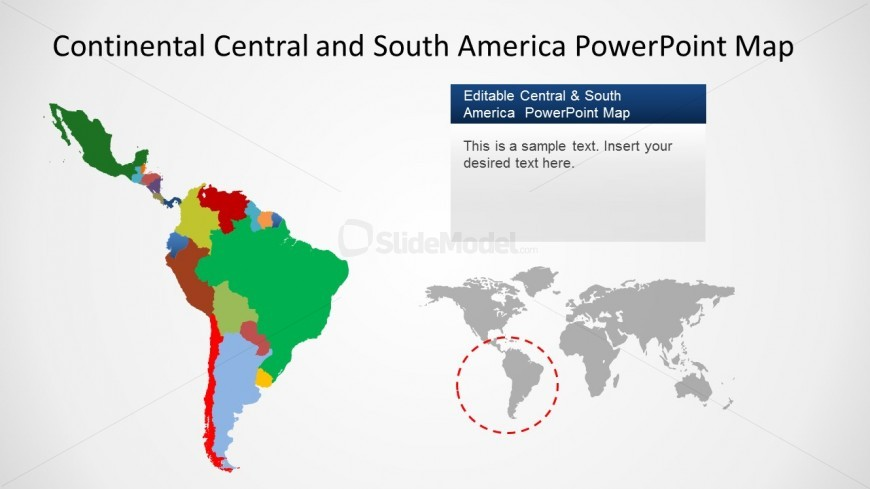 PowerPoint Map of Latin America with Countries Highlighted
