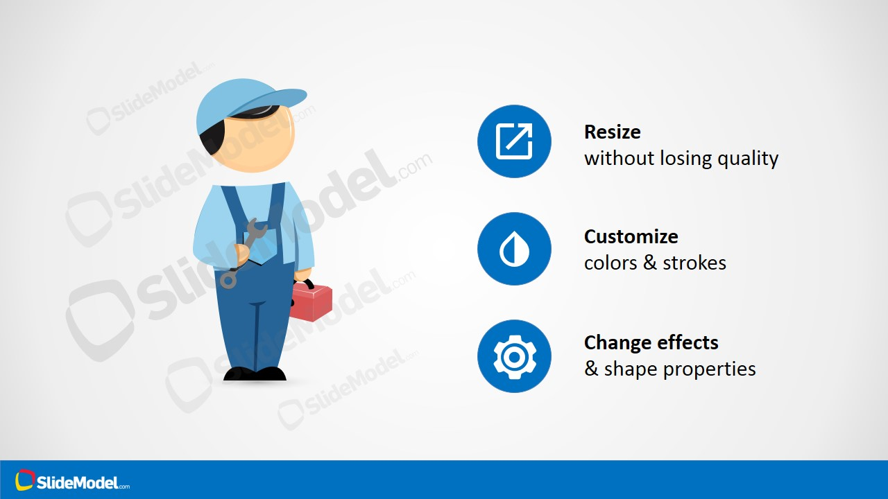 Mike with Spanner PowerPoint Template