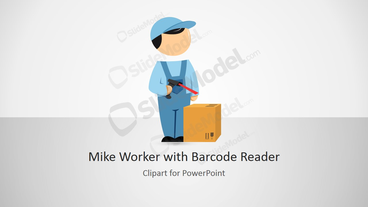 Warehouse powerpoint templates mike powerpoint cartoon worker with barcode reader toneelgroepblik