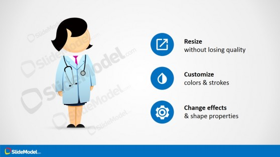 Female Medical Doctor Cartoon PowerPoint Shapes