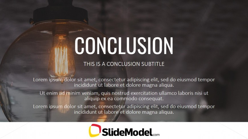 Conclusions Light Bulb Background Image For Powerpoint