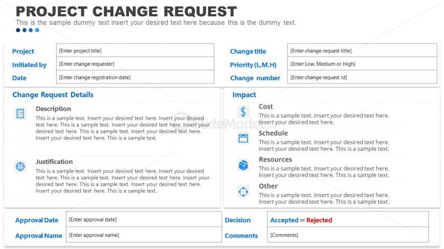 Project Change Request Template Design