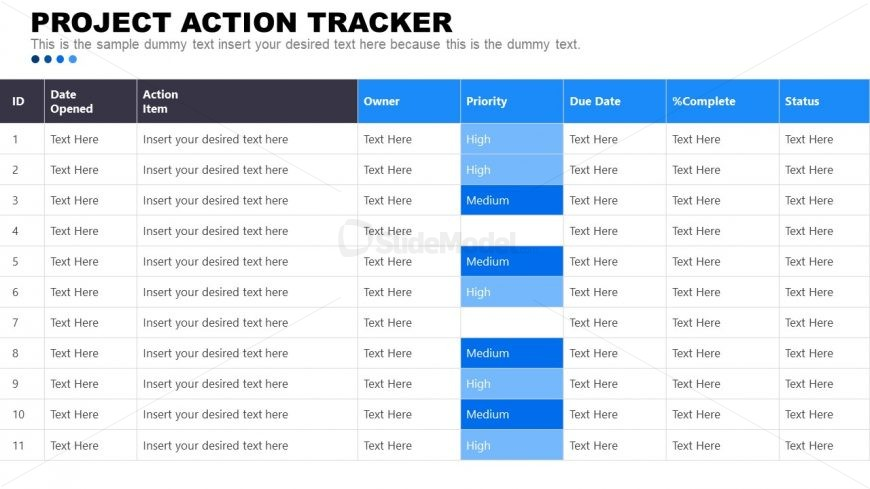 PROJECT ACTION TRACKER PowerPoint