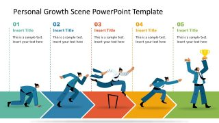 PowerPoint 5 Steps Diagram for Personal Growth