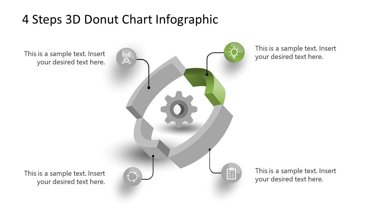 3D Donut Chart Step 2 Diagram PowerPoint