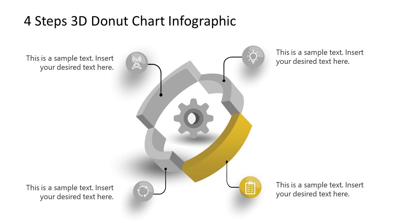 3D Donut Chart Step 3 Diagram PowerPoint