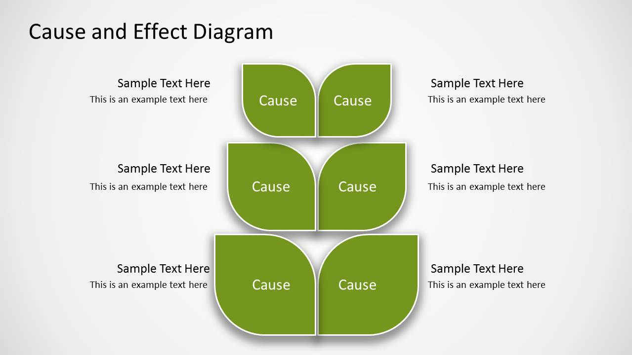 Green cause effect diagram for powerpoint slidemodel cause effect slide design for powerpoint with tree diagram maxwellsz