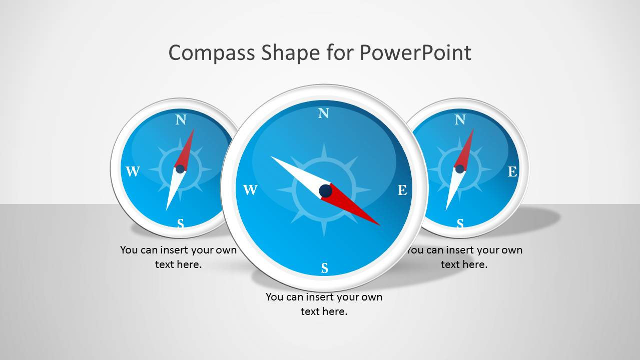 Editable magnetic compass shape and slide design for PowerPoint presentations with blue style