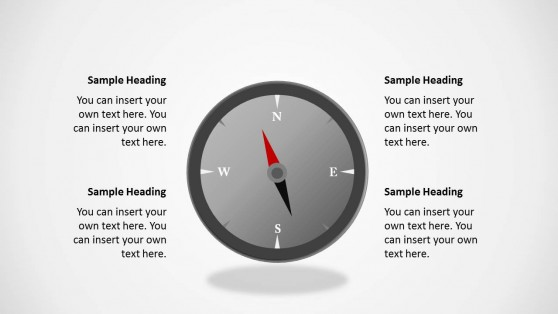 Magnetic Compass with Gray Style for PowerPoint