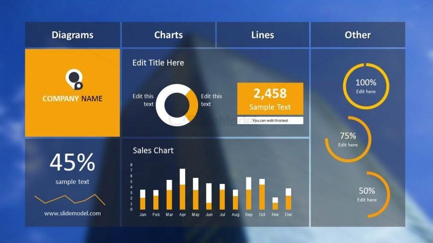 Blue Dashboard Slide Design for PowerPoint