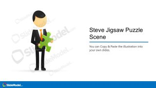 PowerPoint Steve Cartoon Template Holding Puzzle