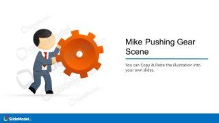 Cartoon Illustration of Mile Pushing Gear