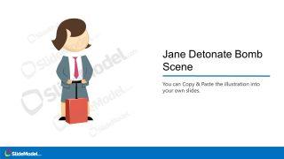 Jane Cartoon Character and Bomb Scene Illustration