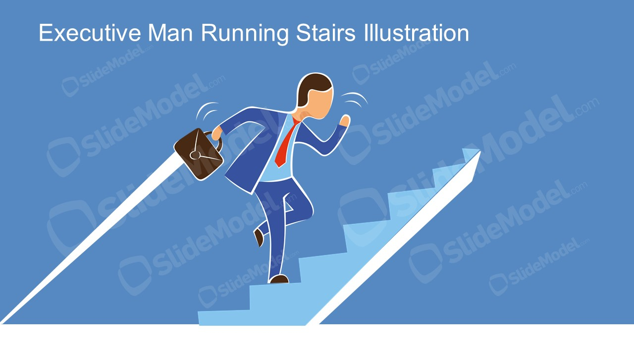 Presentation of Business Man Running on Stair