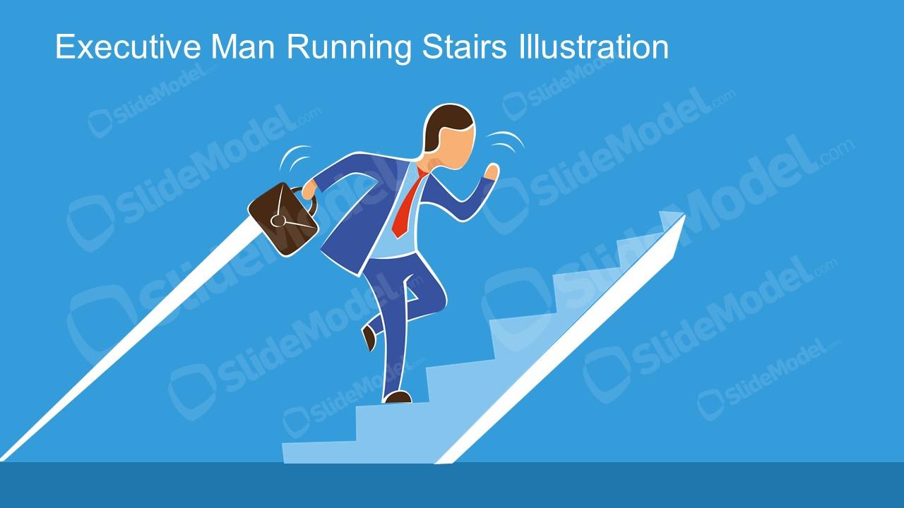 Climbing Stairs Illustration Scene