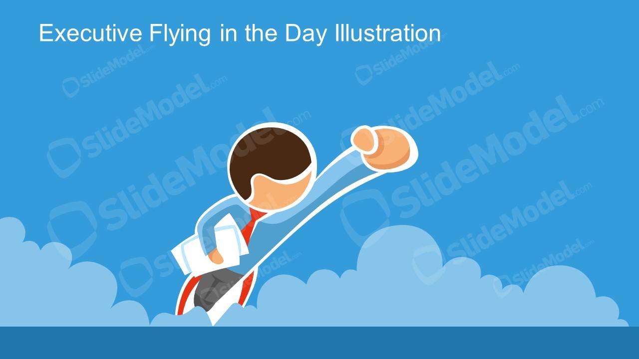Superman Flying Businessman Template