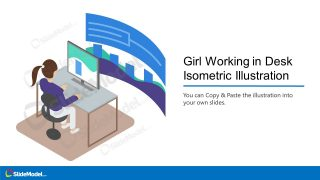 PowerPoint Gril Isometric Working on Desk