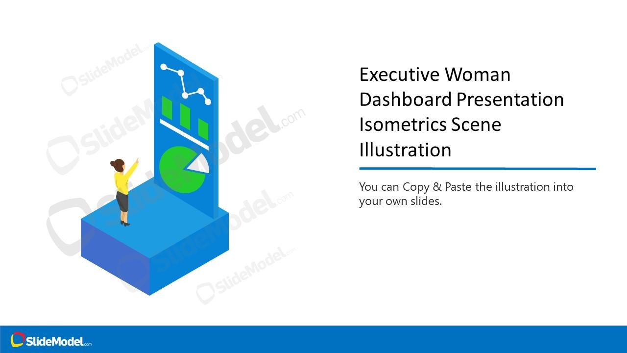 Isometric Dashboard Template of Woman Executive