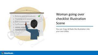 PowerPoint Checklist Scene Illustration Female Cartoon