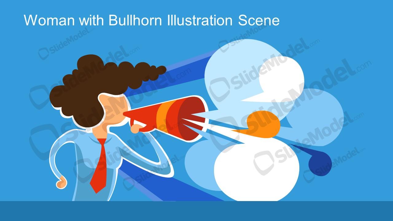 Presentation Slide Vector Woman with Bullhorn