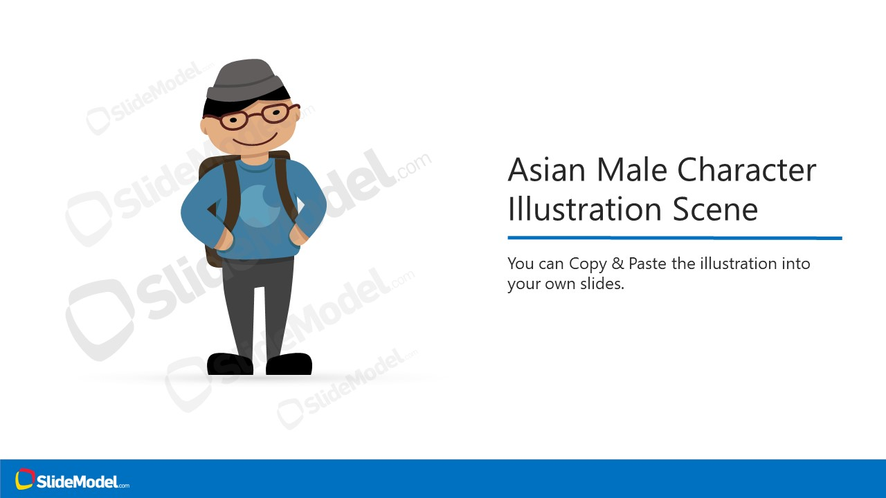 Presentation of Asian Male Character Cartoon