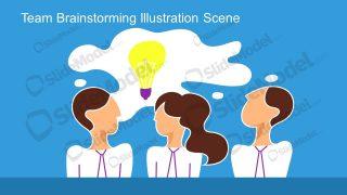 PowerPoint Brainstorming Team Illustration Scene Template