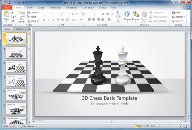 Basic 3D Chess Template for PowerPoint