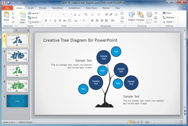 Download Creative Tree Diagram PowerPoint Template