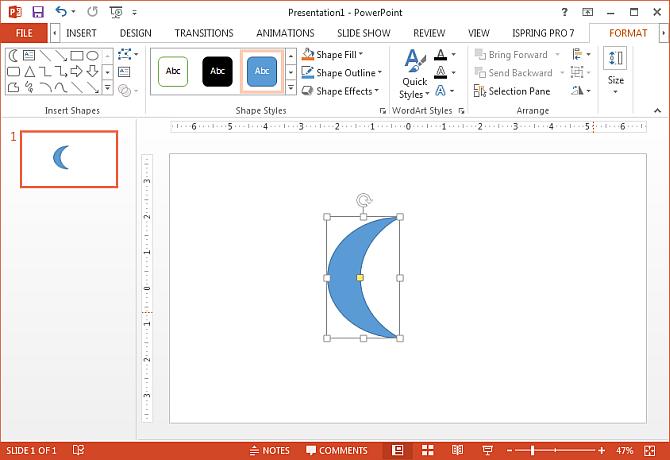 Draw moon shape in PowerPoint