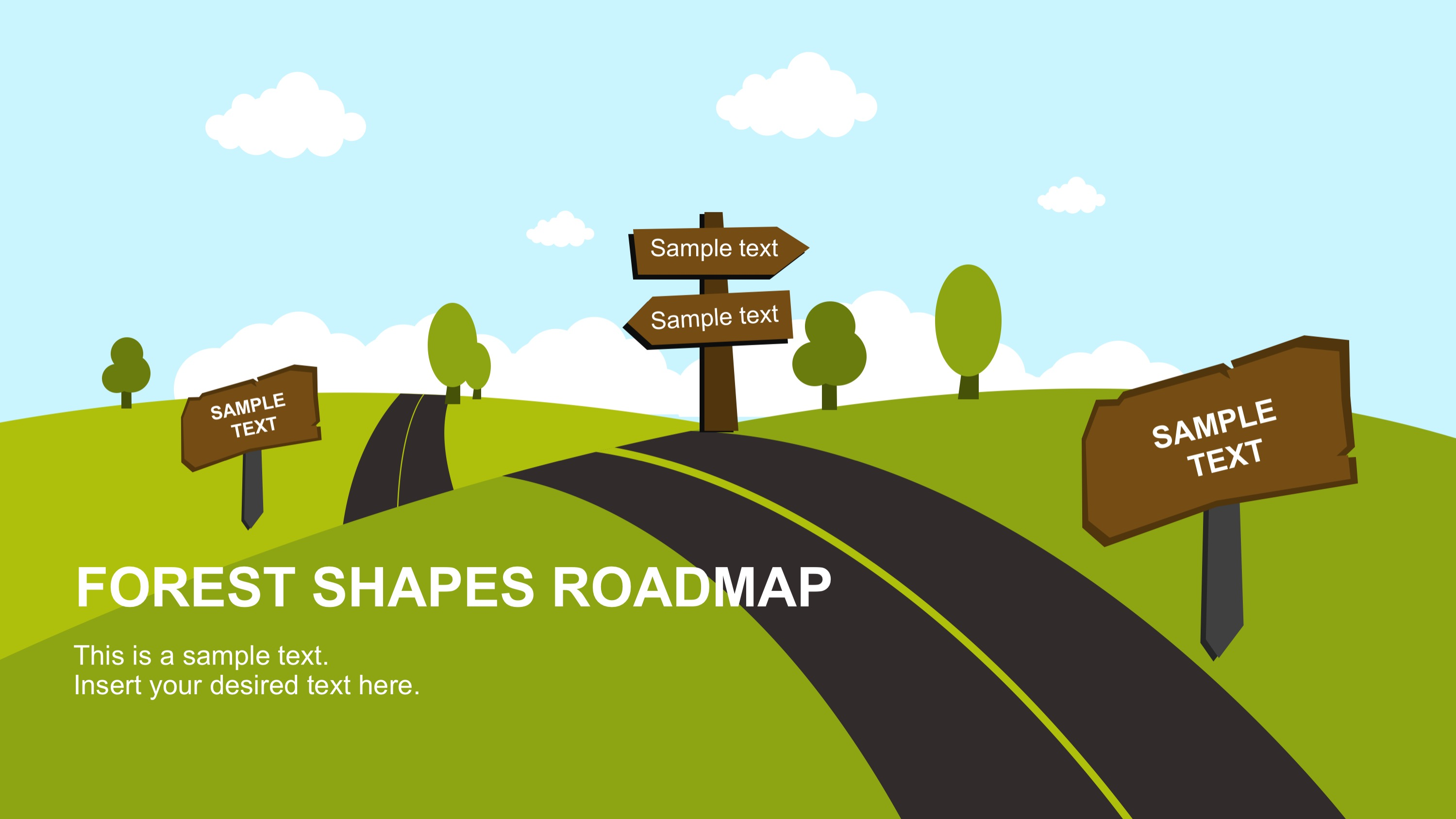 free forest shapes roadmap powerpoint template slidemodel
