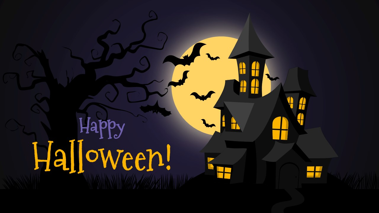 Free halloween powerpoint background slidemodel haunted house and bats illustration toneelgroepblik Images