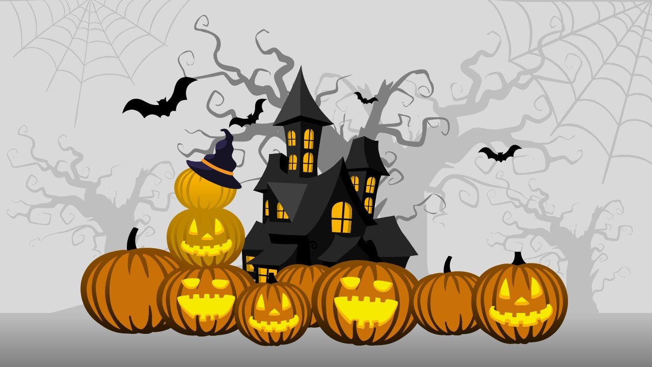 Free halloween powerpoint background slidemodel pumpkin carving haunted house template ghost and skeleton powerpoint shapes happy halloween alramifo Choice Image