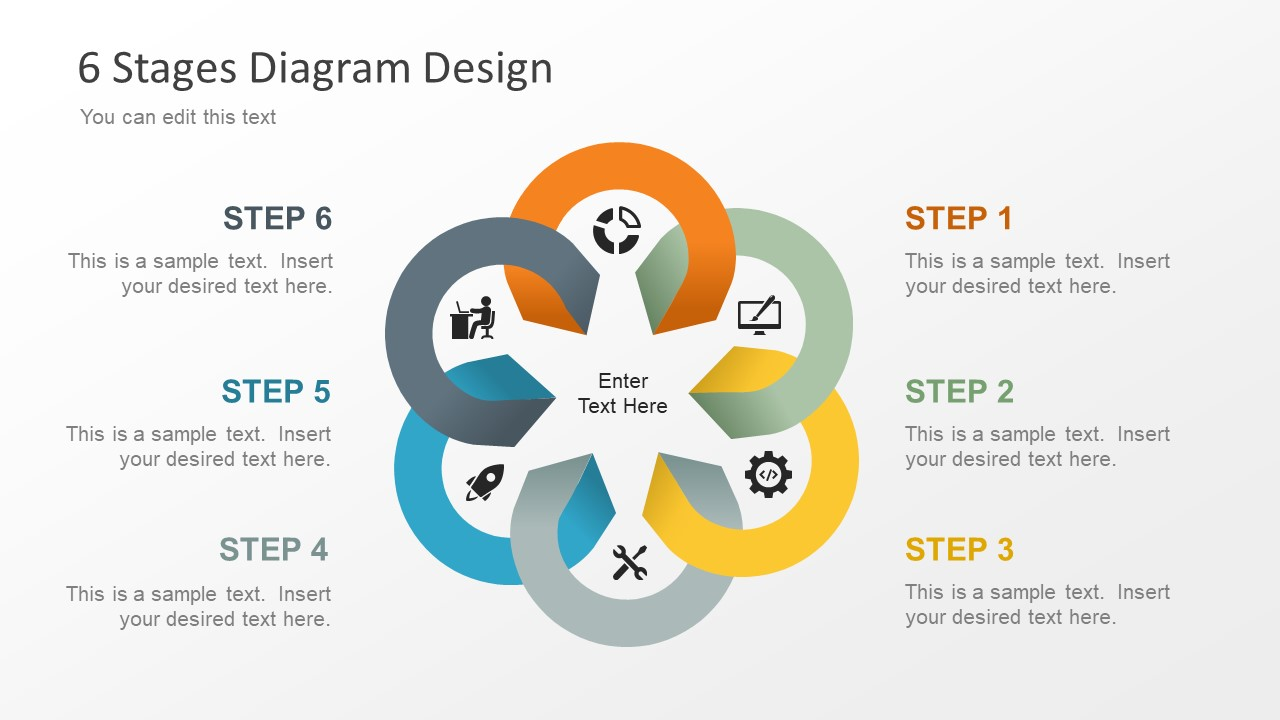 6 Stage Process Cycle Diagram Template