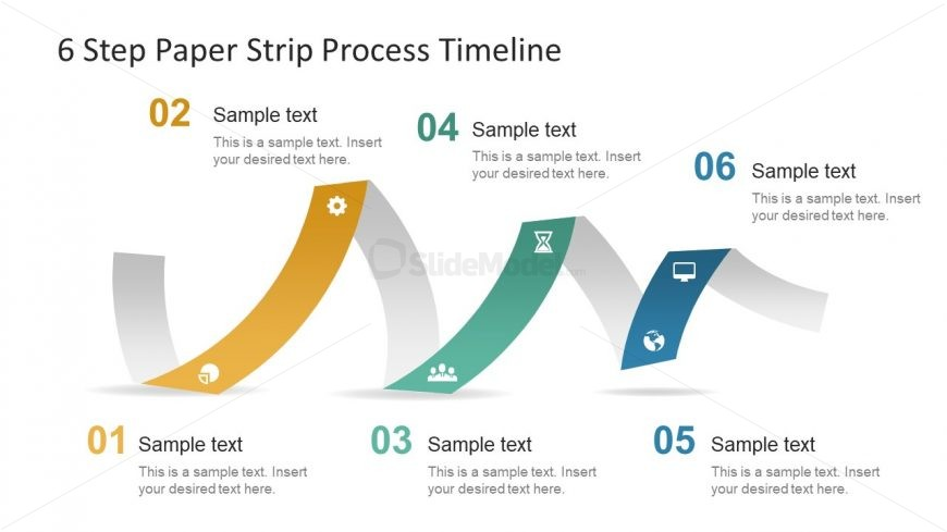 Timeline Presentation of 6 Step Paper Strip