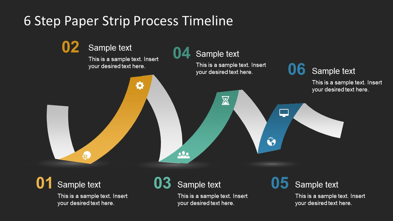 Black Background Slide of Paper Strip Timeline