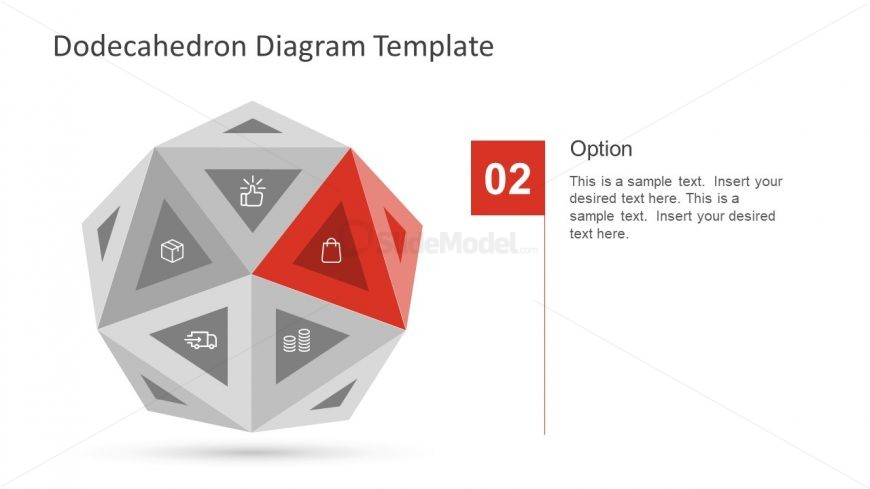 PowerPoint Diagram of Dodecahedron Shape